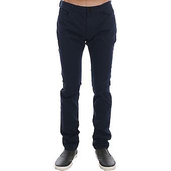 Costume National Blue Cotton Stretch Slim Fit Pants