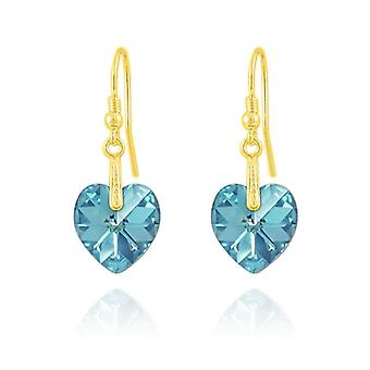 24K gold aquamarine heart earrings