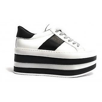Обувь Женщина Тони Дикие Кроссовки Двойной Клин Кожа Белый & Черный D18tw18