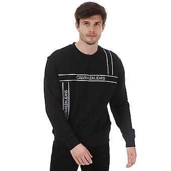 Sudadera de moda con cinta de logotipo calvin klein para hombre en negro