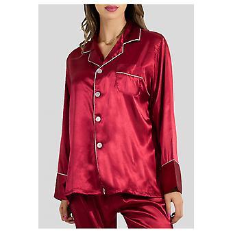 Suora leikkaus sujuva satiini pyjama setti