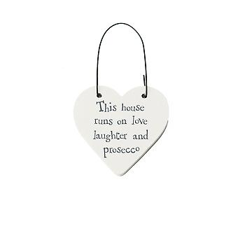 This House Runs on Love, Laughter & Prosecco Mini Wooden Hanging Heart - Cracker Filler Gift