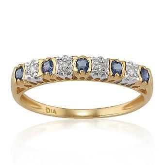 Klassische Runde blau Saphir & Diamant halbe Ewigkeit Ring in 9ct Gelbgold 25387