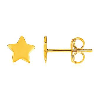 14k Yellow Gold Post Earrings with Stars