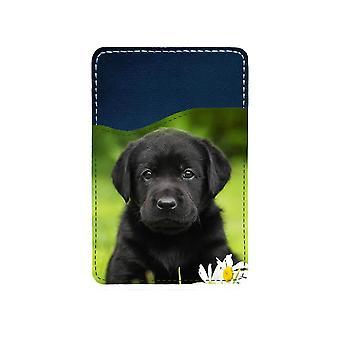 Black Labrador Adhesive Card Holder For Mobile Phone