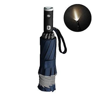Automatisk omvänd vikning paraply reflekterande (blå)