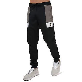 Men's Luke 1977 Cosmos Colour Block Jog Pants in Black