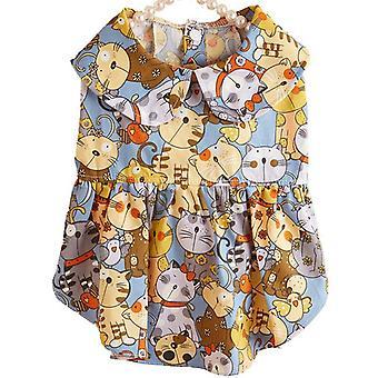 Kedi elbisesi evcil hayvan kıyafetleri baskılı elbise