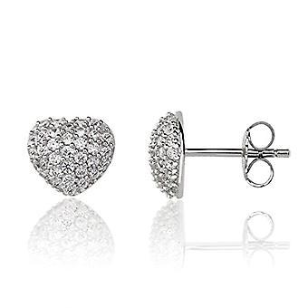 Eye Candy ECJ-ER0015, women's earrings, heart, in 925 rhodium silver, with 66 white zircons, 9 mm