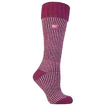 Damer fleece fodrade knä hög termisk boot strumpor