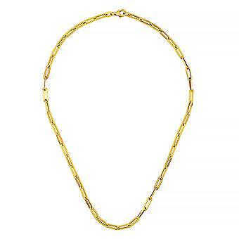 14k Gult Guld Platt Gem Länkar 4mm Hög Polsk Ihålig Öppen Hummer Klo Lås Halsband Smycken Gåvor för Kvinnor - L