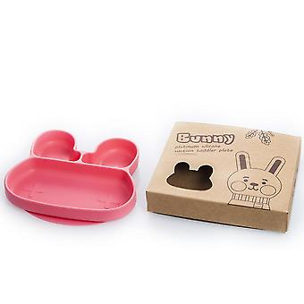 Rabbit red children's silicone dinner plate, food divider bowl az14840