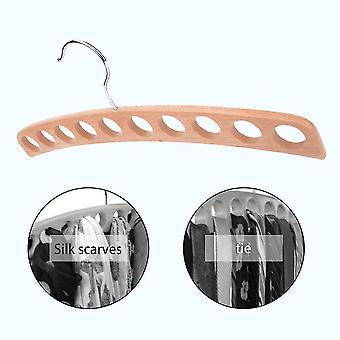 10 Hole Wooden Non-slip Tie Hanger Rack Multifunctional Storage Tie Scarf Rack