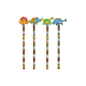 12 Dinosaur Pencils With Eraser Tops