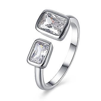 INALIS Platina bevonatú négyzet strassz gyűrű nyitó ujj gyűrűk