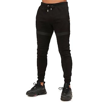 Glorious Gangsta   0438 Donaeo Ribbed Knee Panel Mesh Tape Jogger - Black