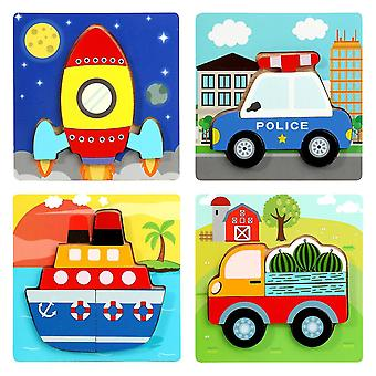 3d Wooden Puzzles For Toddlers,educational Toys For Kids(Transportation)