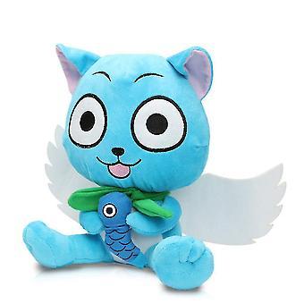Fairy Tail Happy Cat håller fiskdocka Natsu plysch leksak 27cm