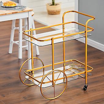 Étagères en verre doré vintage à 2 niveaux servant le chariot