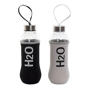 Glasflaska med neoprenskydd DKD Home Dekor H2O Vit Svart Polypropylen (PP) (400 ml) (2 st)