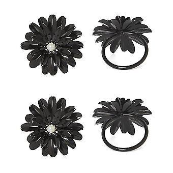 Vibhsa Preto Conjunto Floral de 4 anéis de guardanapo