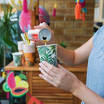 Tropical Fiesta Palm Leaf Paper Party Cups x 8 250ml