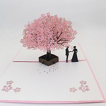 3D-Karte Pop-Up-Karte Hochzeitstag Grußkarte Romantisches Paar Sakura Baumform