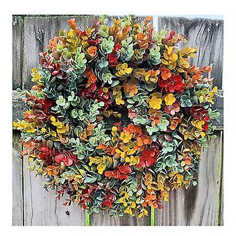 Herbst Eukalyptus Bauernhaus Kranz Haustür Hängendes Ornament für alle Jahreszeiten HerbstDekoration 18