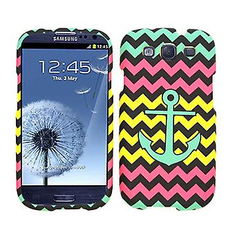 Unlimited Cellular Snap-On Protector Case for SAMI747/GS3 - A/S/T- Green Anchor on Pink / Yellow Chevron