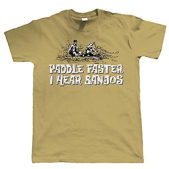 Padle hurtigere, jeg hører Banjos, Funny Canoeing T Shirt, Gave til far ham