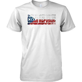 Tschechische Republik Grunge Land Name Flag Effect - Kinder T Shirt
