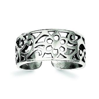 925 sterling sølv solid antikk finish antiqued floral tå ring smykker gaver til kvinner