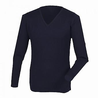 Henbury Mens Cashmere Touch Acrylic V-Neck Jumper / Knitwear