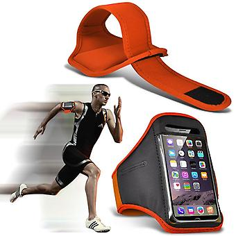 ONX3 (Orange) Adjustable Sweatproof/Water Resistent Sports Fitness Running Cycling Gym Armband Phone Case For Xiaomi Redmi Note 5 Pro [ XXL]
