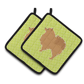 Pomeranian Checkerboard Green Pair of Pot Holders