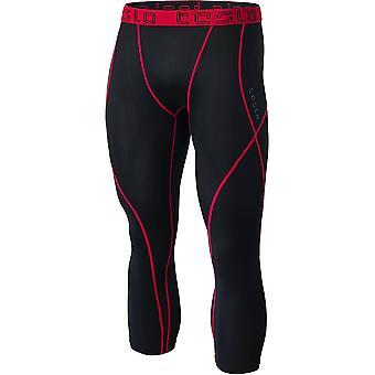 TSLA Tesla MUC18 contour-Stitch 3/4-lengte compressie panty-zwart/rood