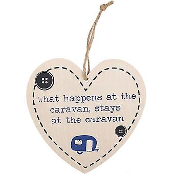 What happens at the caravan stays at the caravan heart wall plaque