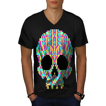 Pixel Skelett Rock Totenkopf Männer BlackV-Neck T-shirt | Wellcoda