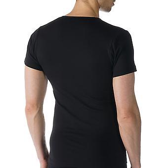 Mey 49107-123 mannen Casual katoen zwart effen kleur korte mouwen Top