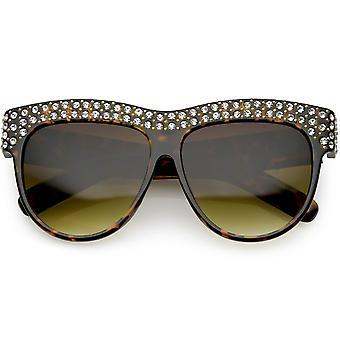 Ręcznie robione Rhinestone stadniny upiększać Oversize okulary okrągłe płaskie soczewki 57mm