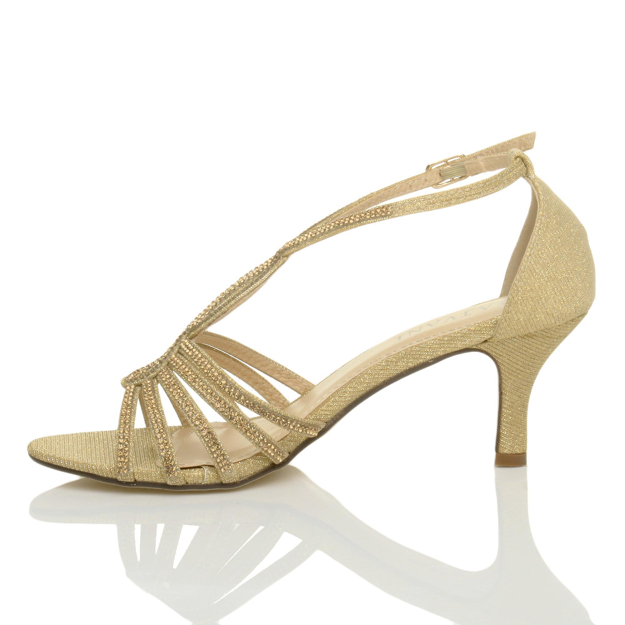 Ajvani kvinners midt hæl strappy diamante glitter Bryllupsutstyr wedding kveld t-bøylen sandaler sko
