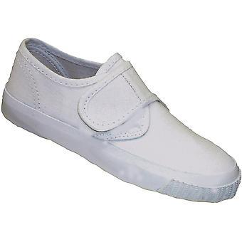 Mirak chicas textil Plimsoll zapatillas zapato en caja blanco (Med)
