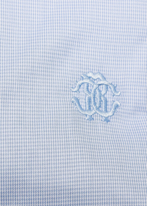 Roberto Cavalli Men's Spread Collar Checkered Cotton Dress Sky Blue