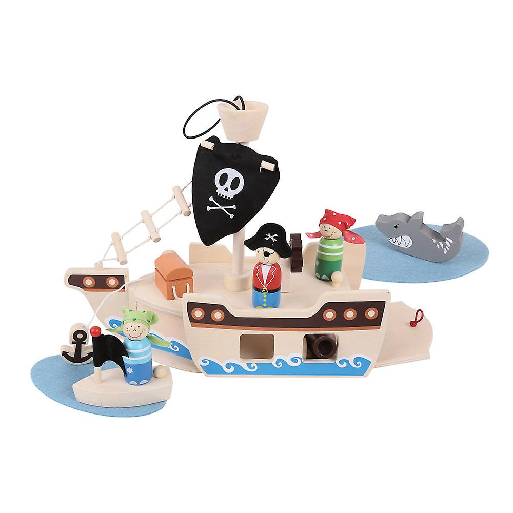 Bigjigs Toys Wooden Mini Pirate Ship Play Set Pretend Role Play