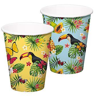 Tucano verão festa XL caneca 350ml 8pcs tropical Tucano festa decoração