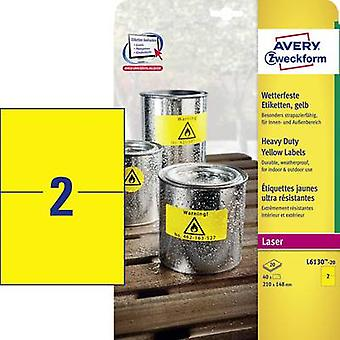 Avery-Zweckform L6130-20 Labels 210 x 148 mm Polyester film Yellow 40 pc(s) Permanent All-purpose labels, Weatherproof labels
