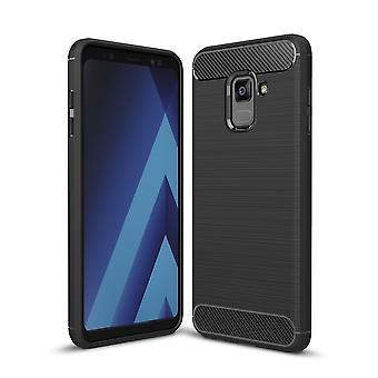 Samsung Galaxy A8 + 2018 TPU caso carbonio fibra ottica spazzolato nero custodia protettiva