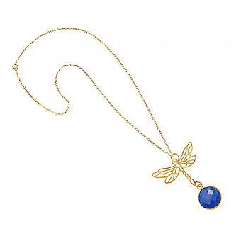 قلادة-قلادة-925 الفضة-مذهب الجزع--اليعسوب--الأزرق--45 سم