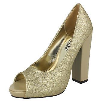 Ladies Spot On Peep Toe Court Shoe