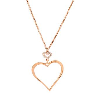 Orphelia Silver 925 Necklace Rose Gold Heart Zirconium 40+4 cm